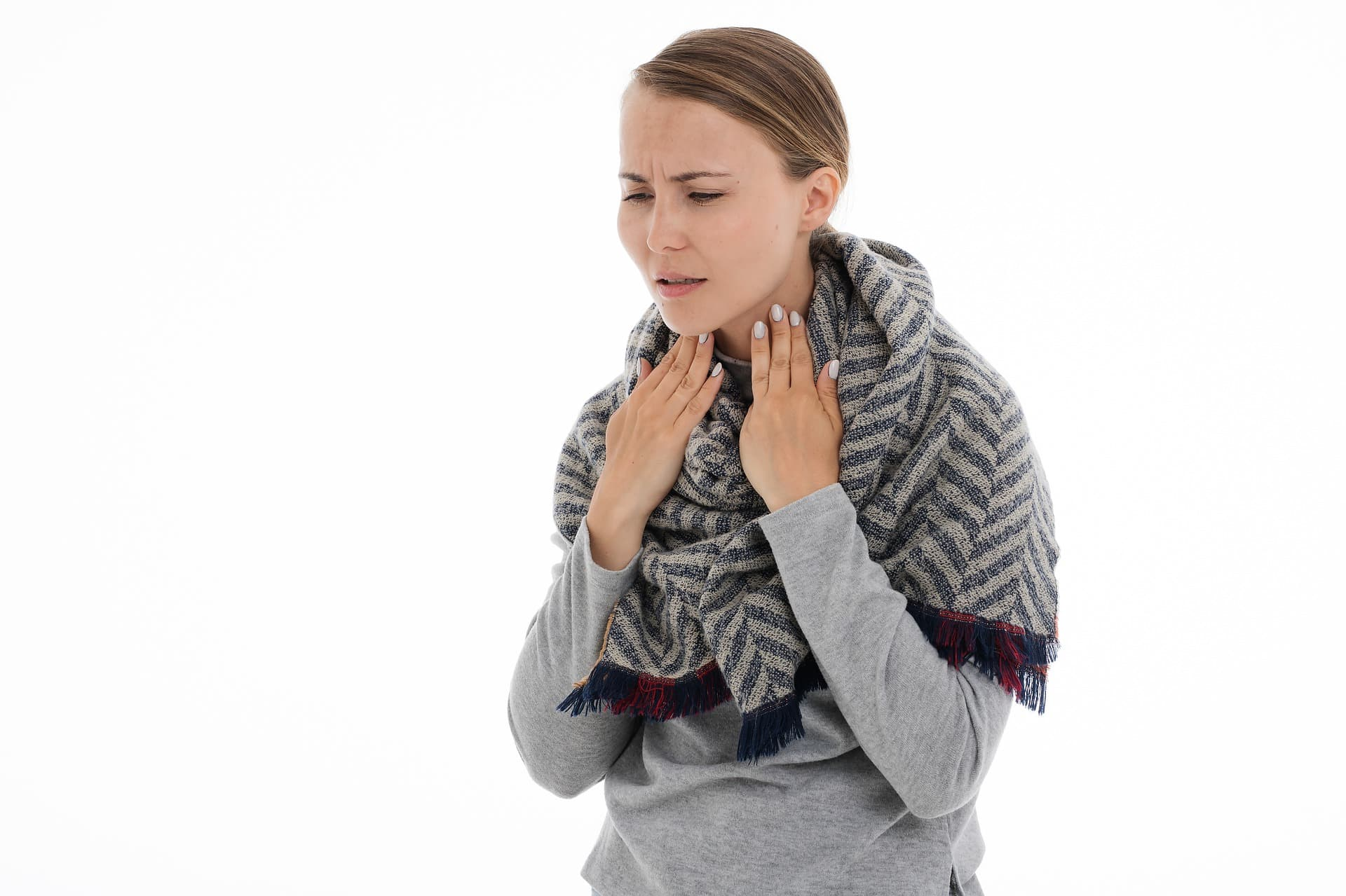 Woman with a sore throat