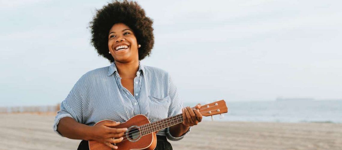 Lady smiling and singing